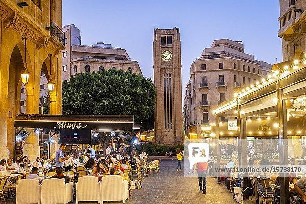El Maarad street  in background El Nejmeh square or Star square  Downtown  Beirut  Lebanon.