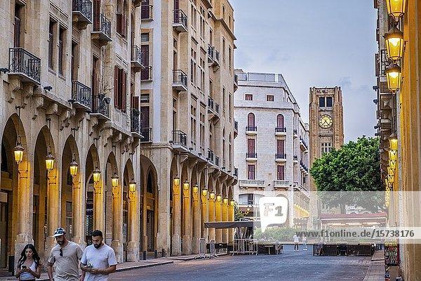 El Omari Mosque street  in background El Nejmeh square or Star square  Downtown  Beirut  Lebanon.