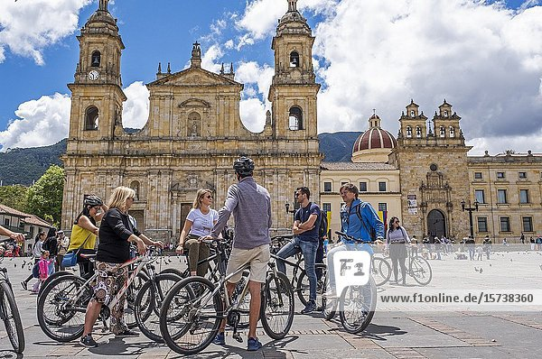 Tourists  Bolivar square  and the cathedral  Bogotá  Colombia.