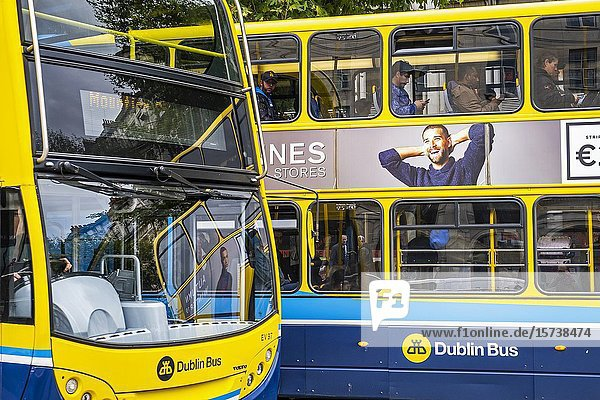 Buses in O'Connell Street  Dublin  Ireland.