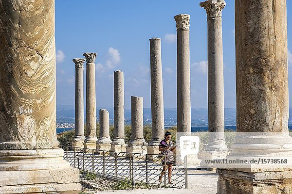 Woman  tourist  Al-Mina archaeological site  Tyre (Sour)  Lebanon.