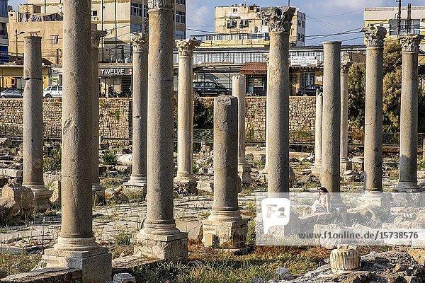 Couple  tourists  Al-Mina archaeological site  Tyre (Sour)  Lebanon.