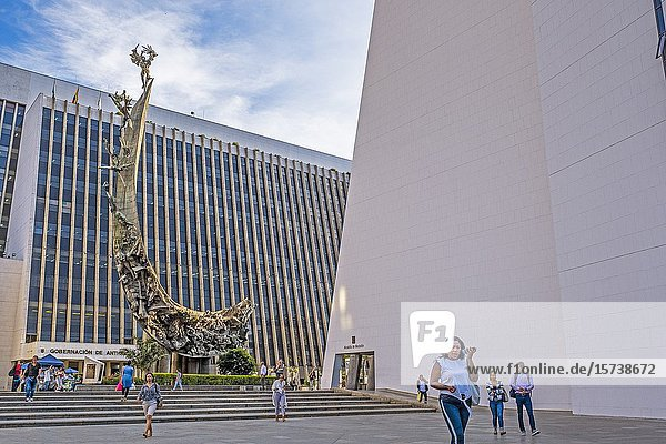 `Monument to the race' by Rodrigo Arenas Betancur  in the Administrative Center La Alpujarra  in the background  at left the building of the Government of Antioquia  and at right City hall building  Medellín  Colombia.