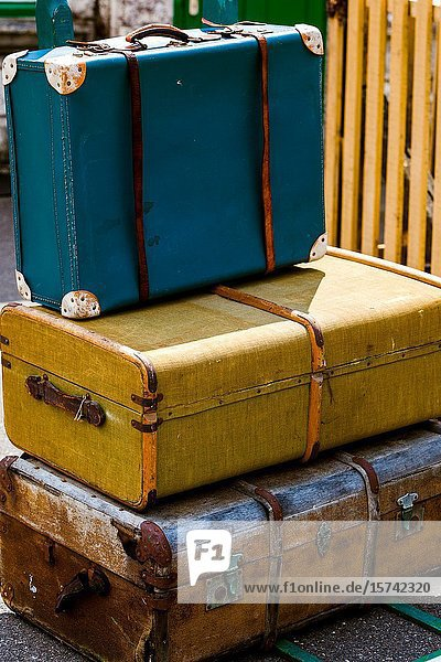 Old fashioned luggage and porters trollies at Corfe castle station. Swanage Railway Dorset England UK.