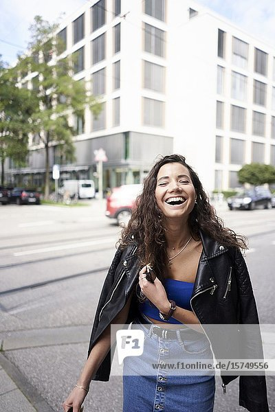 Young woman on the street. Munich  Germany.
