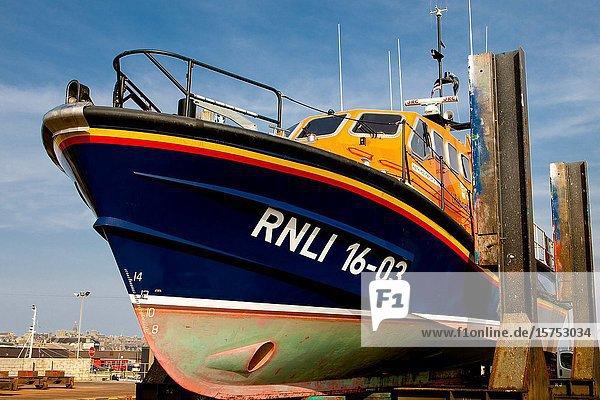 Peterhead Lifeboat up on ramps at Fraserburgh ship repair yards.