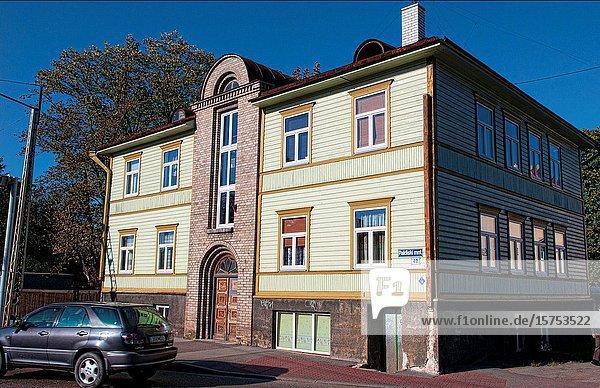 Tallinn Estonia old wooden houses in city downtown