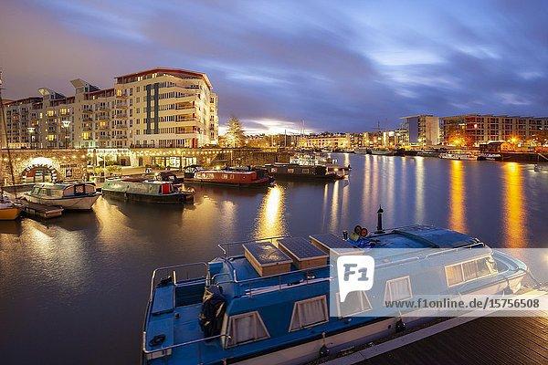 Winter dawn at Bristol Harbour  England.
