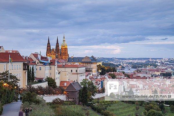 Night falls at Hradcany Castle  Prague  Czechia.