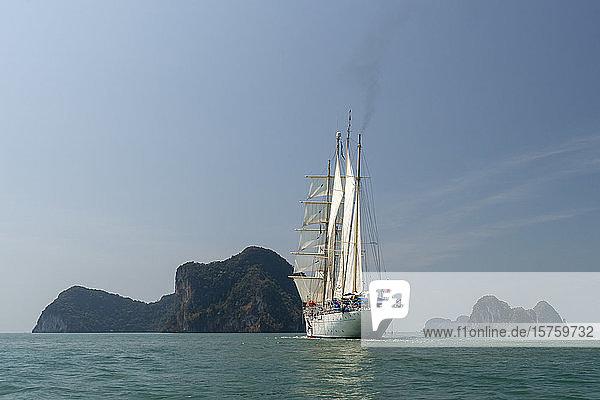 Star Clipper cruise ship sailing in Phang Nga bay  Thailand