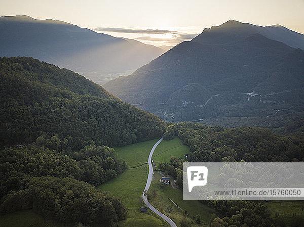 Aerial view of landscape at sunset  Dresnica  Triglav National Park  Upper Carniola  Slovenia