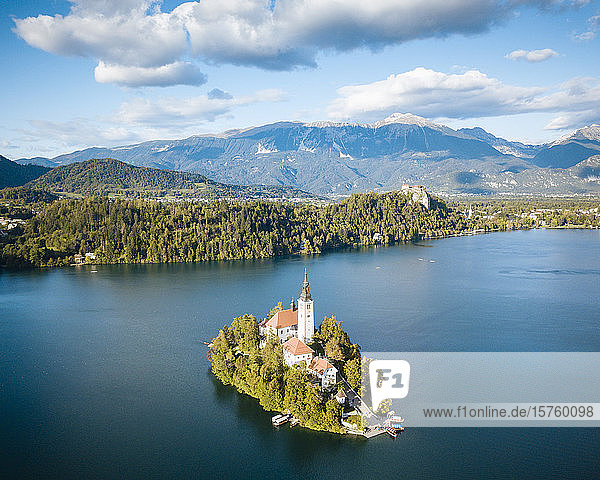 Aerial view of Bled Island with Church of the Assumption at dawn  Lake Bled  Upper Carniola  Slovenia