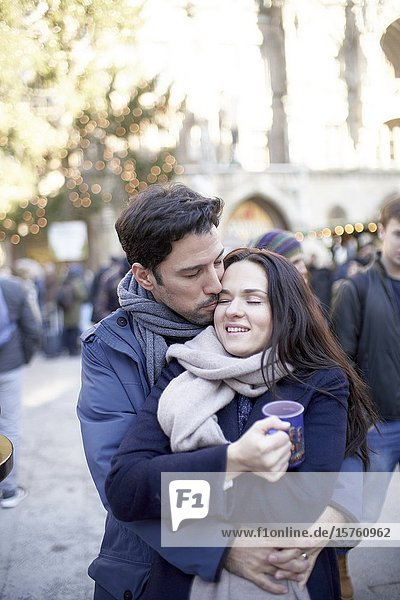 Romantic couple at christmas market in Munich  Germany.