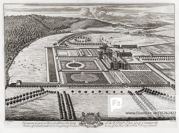 Hampton Court Palace  grounds and surrounding area  Greater London  England. After an early 18th century print engraved by Johannes Kip.