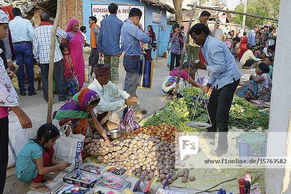 Kanha street market,  Madhya Pradesh State,  India.