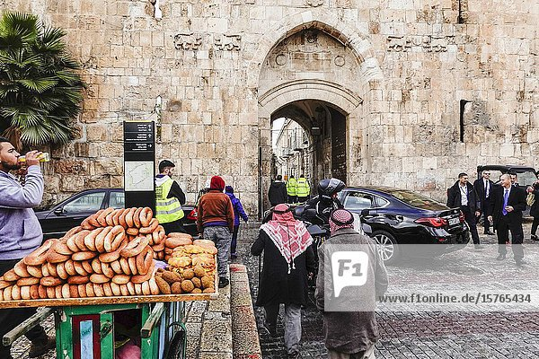 Jerusalem  Israel A visiting dignitary and security at the entrance to the old city.
