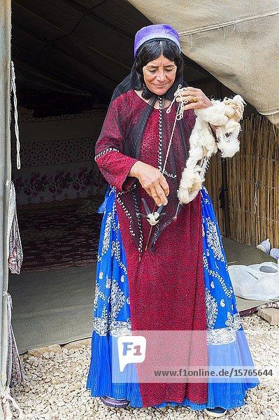 Qashqai woman spinning wool  Qashqai nomad camp  Fars Province  Iran.