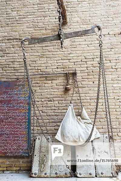 Meydan-e Gandj-e Ali Khan Square,  ancient scales,  Kerman,  Kerman Province,  Iran.