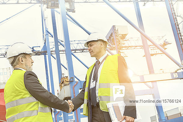 Dock managers shaking hands at sunny shipyard