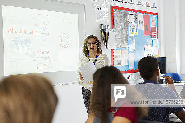Female high school teacher leading lesson at projection screen in classroom