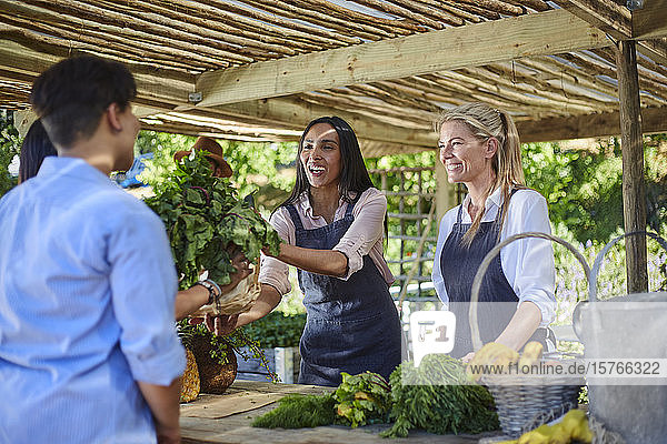 Frauen arbeiten auf dem Bauernmarkt