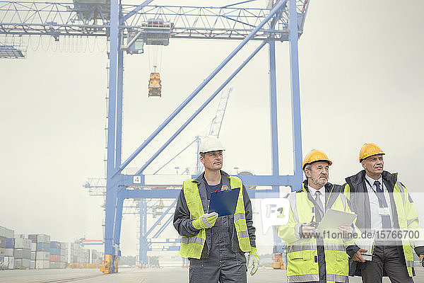 Dock workers and manager walking below crane at shipyard