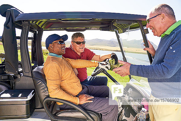 Male golfers talking at sunny golf cart