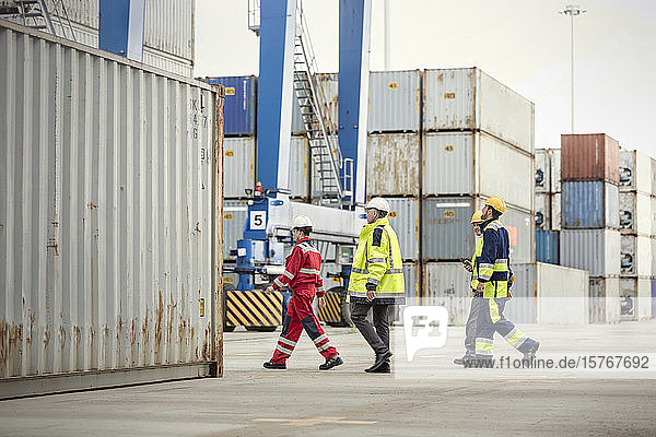 Dock workers walking along cargo containers at shipyard