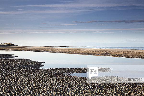 Tranquil seascape view ocean beach Embleton Beach Northumberland