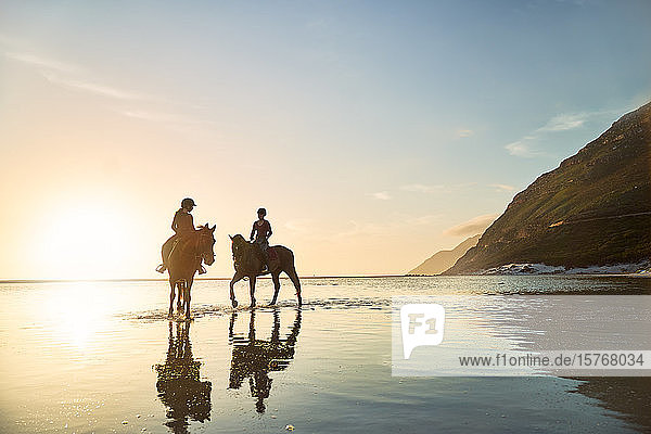 Young women horseback riding in tranquil ocean surf at sunset