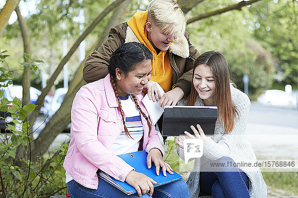 College students with digital tablet studying in park