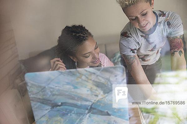 Female entrepreneurs working in home office