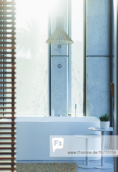 Modern  luxury home showcase interior bathroom with soaking tub