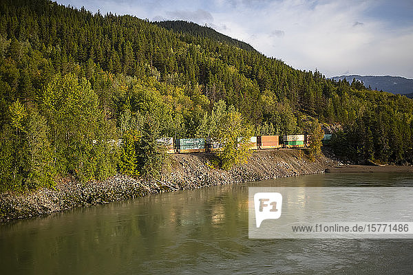 Skeena River and Canadian National Railway line; Terrace  British Columbia  Canada
