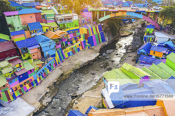Colourful village  Kampung Tridi; Malang  East Java  Indonesia
