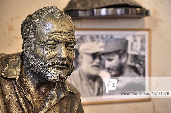Bronze statue of Ernest Hemingway in El Floridita Bar and Restaurant  Old Town; Havana  Cuba