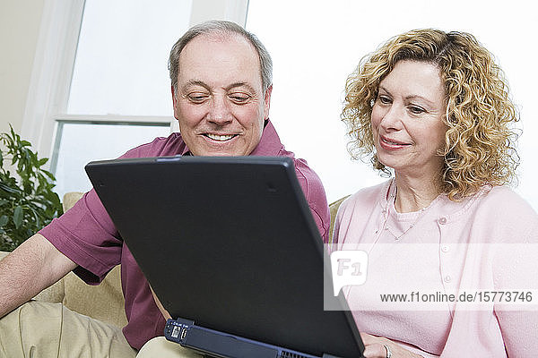 View of a smiling couple using a laptop.