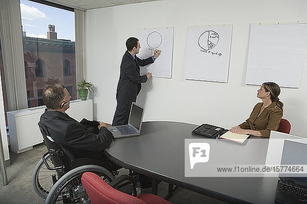 Businessman giving a presentation in an office meeting