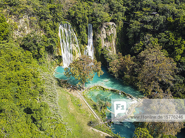 Aerial of the Minas Viejas waterfalls  Huasteca Potosi  San Luis Potosi  Mexico  North America