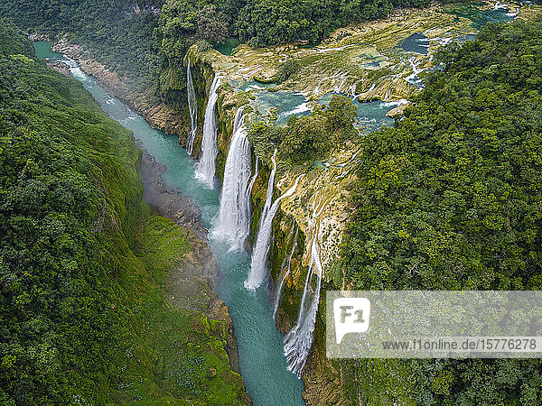 Aerial of the Tamul waterfalls  Huasteca Potosi  San Luis Potosi  Mexico  North America