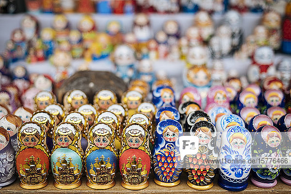 Matryoshka dolls for sale in Izmaylovsky Bazaar  Moscow  Moscow Oblast  Russia  Europe