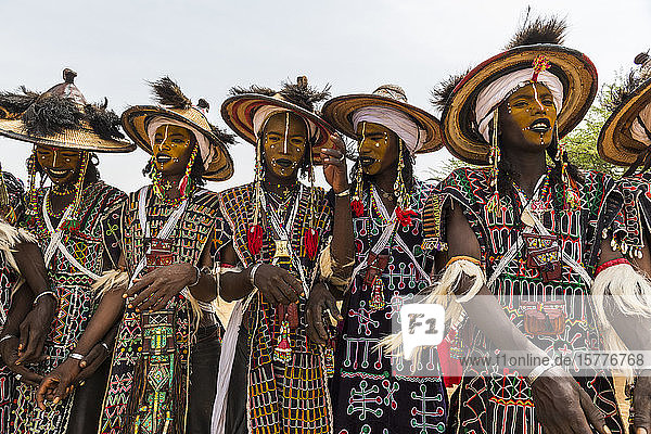 Wodaabe-Bororo men with faces painted at the annual Gerewol festival  courtship ritual competition among the Wodaabe Fula people  Niger  West Africa  Africa