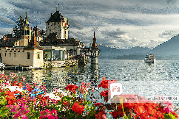 Flowers framing Oberhofen Castle and Lake Thun  Canton of Bern  Switzerland  Europe