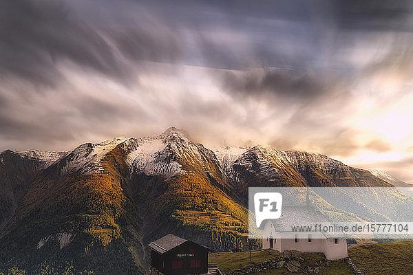 Fairy tale landscape during the autumn sunset over Bettmeralp  canton of Valais  Swiss Alps  Switzerland  Europe