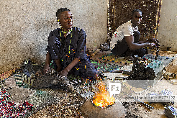 Man working on Jewllery in the UNESCO World Heritage Site  Agadez  Niger  West Africa  Africa