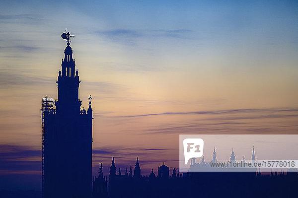 Giralda bell tower at sunset in Seville  Spain