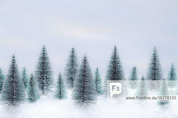 Christmas tree ornaments in snow