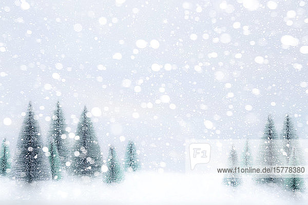 Snow falling on Christmas tree ornaments