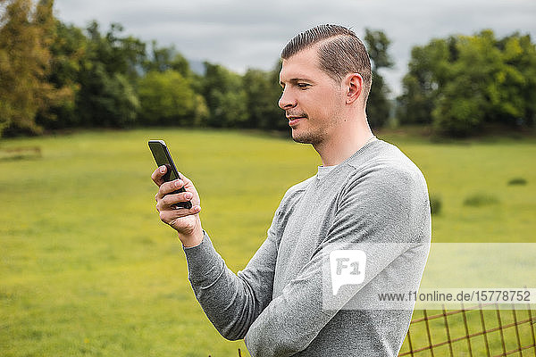 Mann neben dem Feld beim Betrachten eines Smartphones  Francenigo  Venetien  Italien