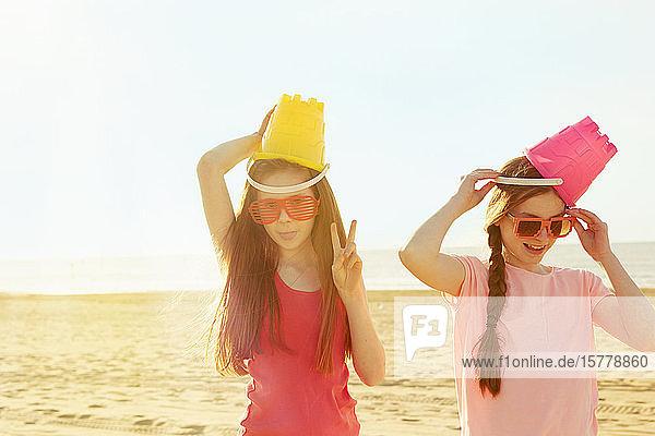 Best friends on seaside holiday